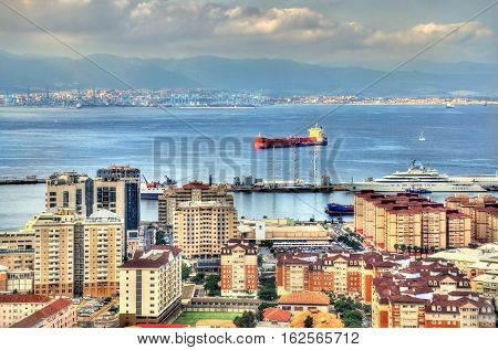 View on the Bay of Gibraltar and the city of Gibraltar, a British Overseas Territory