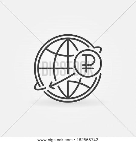 Russian international money transfer icon. Ruble currency concept symbol in thin line style. RUB with globe linear sign or logo element