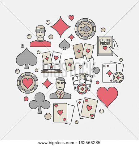 Poker colorful circular illustration. Vector round sign made with playing cards, chips and other poker flat icons