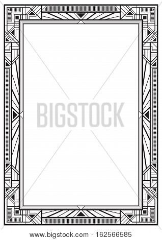 Black rectangular retro frame, art deco style of 1920s. A4 page proportions.