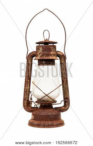 Old rusty lamp. Old lantern isolated on white background