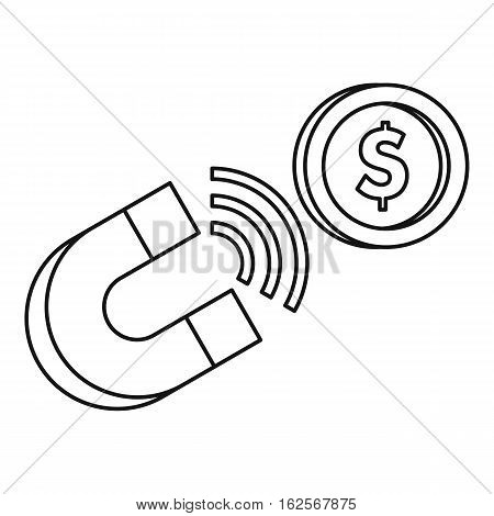 Magnet with coin icon. Outline illustration of magnet with coin vector icon for web