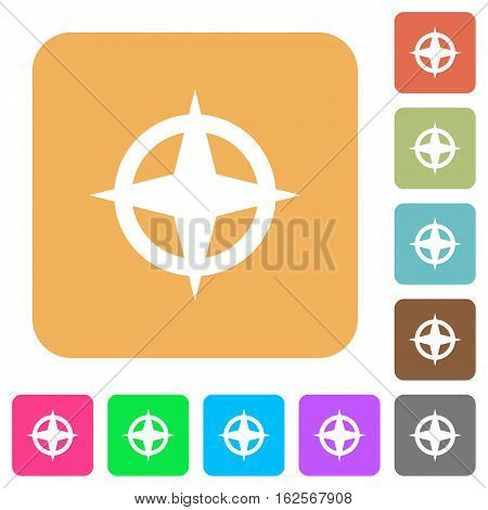 Map directions icons on rounded square vivid color backgrounds.