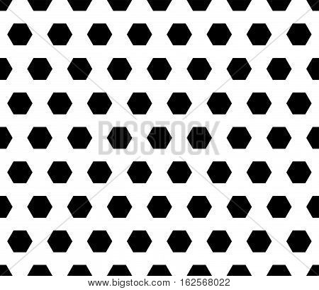 Vector seamless pattern, black hexagons on white background. Regular grid, illustration of perforated surface, football ball, honeycomb. Simple geometric texture for prints, decoration, textile, furniture, digital, web