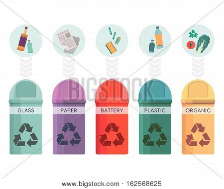 Colorful collection of garbage bins. Recycle containers set for sorted waste glass, paper, battery, plastic and organic. Five different trash can. Vector illustration eps10
