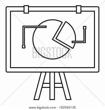 Flip chart with statistics icon. Outline illustration of flip chart with statistics vector icon for web