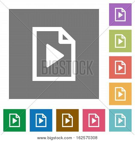 Playlist flat icons on simple color square backgrounds