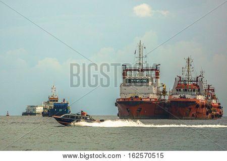 Labuan,Malaysia-Dec,212016:Offshore oil & gas sub sea construction & support vessel at Labuan.The island strategically located in the ASEAN offshore oil exploration and production region