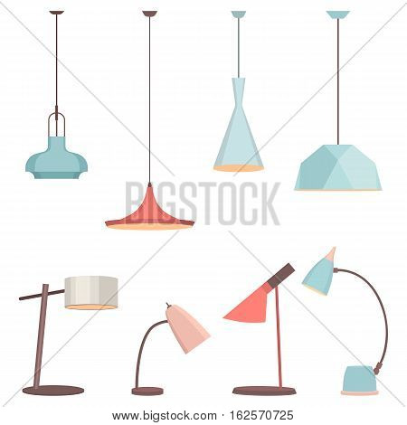 Lamps sign set for interior. Electricity floor lamp and table lamps concept. Home decoration object in flat style. Vector spotlight accessory icon