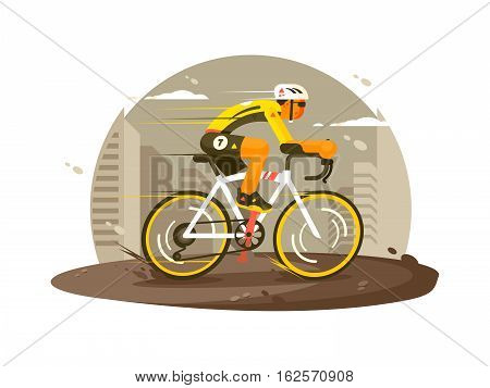 Sport athlete cyclist quickly rides on bicycle. Vector flat illustration
