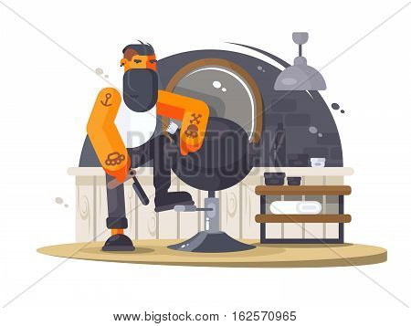 Stylish man bearded barber hipster in beauty salon. Vector illustration