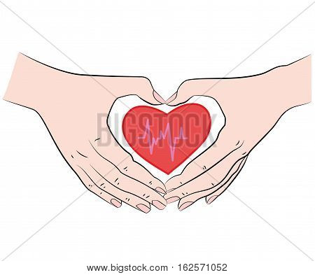joined hands in a heart shape. health care. vector illustration