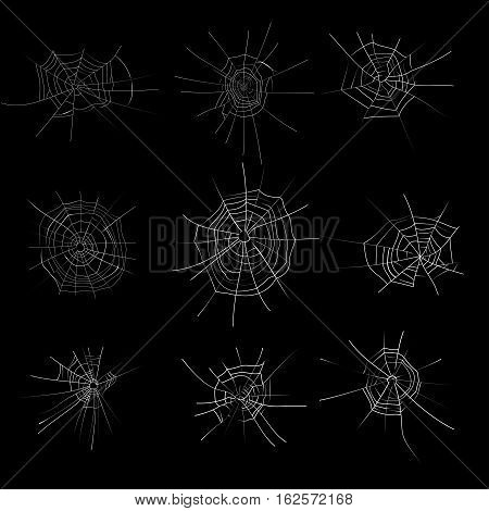 Spider web monochrome set. Cobweb halloween trap. Vector illustration.