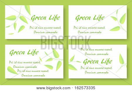Green tea business card template set. Stock vector illustration with plant leaves for company identity