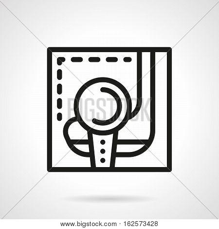 Sport leisure and recreation symbol. Golf equipment - tee with ball and putter or club. Sign for golfing on white background. Black simple line style vector icon.