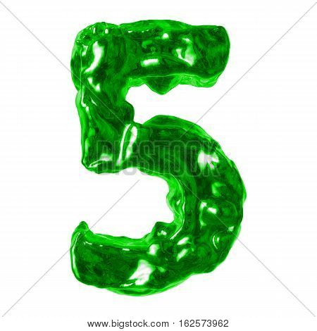 number 5 green liquid on a white background