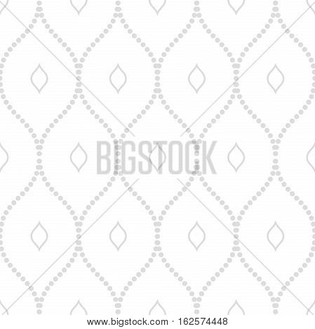 Seamless vector ornament. Modern background. Geometric pattern with repeating silver dotted wavy lines