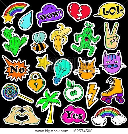 Colorful fun set of fashion stickers icons emoji pins or patches in cartoon 80s-90s comic style.