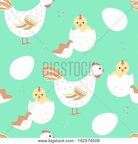 Hen And Baby Chicken Seamless Pattern