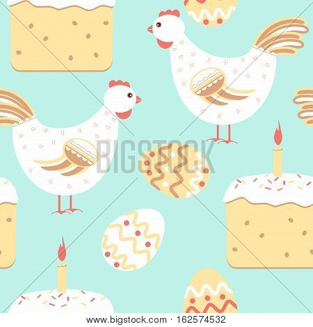 Chicken Easter Seamless Pattern