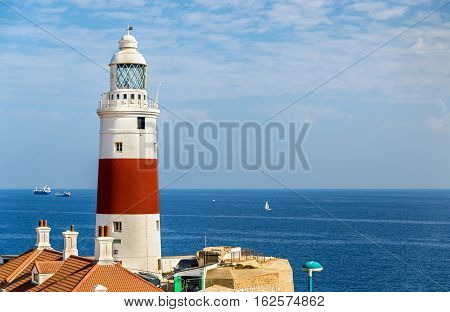 Trinity Lighthouse at Europa Point in Gibraltar, at the Strait of Gibraltar