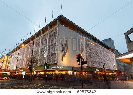 LONDON ENGLAND - DECEMBER 17: London Oxford Street John Lewis Christmas lights. In London England. On 17th December 2016.