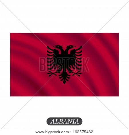 Waving Albania flag on a white background. Vector illustration