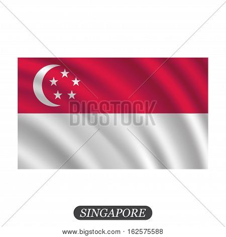 Waving Singapore flag on a white background. Vector illustration