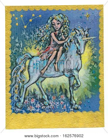 An hand drawn illustration Tarot deck card - FRIENDSHIP. Colored painted. Original.