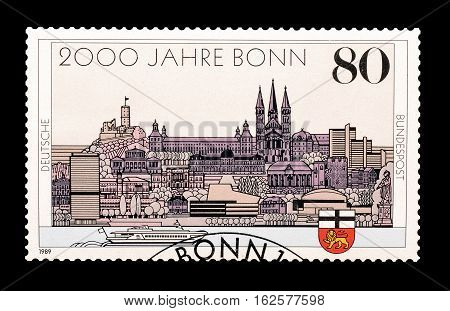 GERMANY - CIRCA 1989 : Cancelled postage stamp printed by Germany, that shows Bonn.