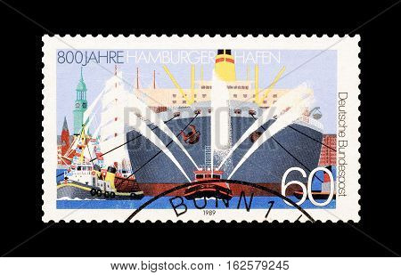 GERMANY - CIRCA 1993 : Cancelled postage stamp printed by Germany, that shows Hamburg harbor.