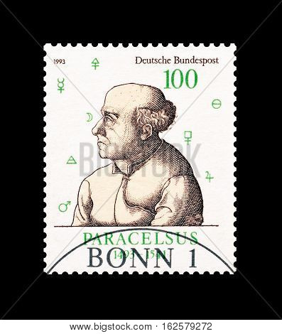 GERMANY - CIRCA 1993 : Cancelled postage stamp printed by Germany, that shows Paracelsus.