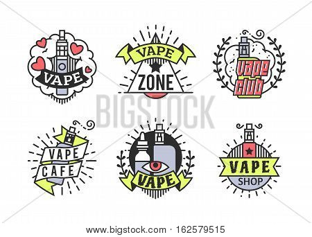 Vector Vaping Badges, Modern Line Art Labels, Vape Shop Logo, Retro Illustration
