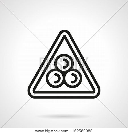 Abstract symbol of billiard games starting position. Three balls in triangle on white background. Sport and active leisure concept. Black simple line style vector icon.