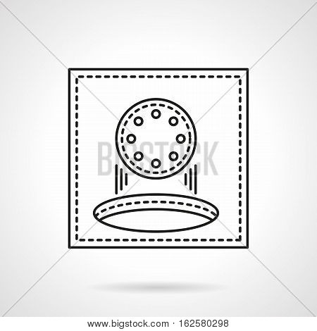Golf ball falling into hole. Score points in game or sport tournament. Golfing abstract symbol on white background. Flat black line vector icon.