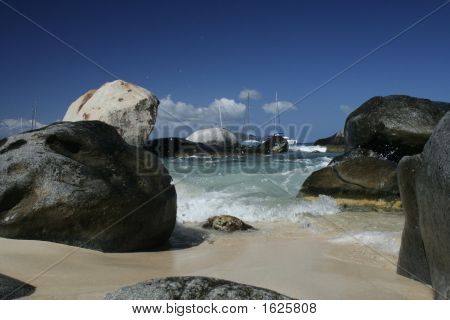 Sea Splash On Caribbean Boulders