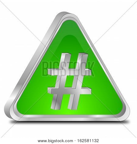 glossy green Hashtag Button - 3D illustration