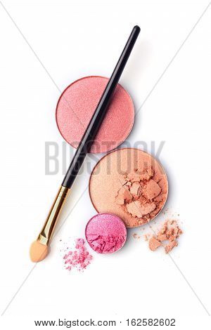 Blush Or Face Powder And Pink Eyeshadows With Applicator