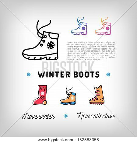 Winter boots thin line icons, Sport shoes, footwear. Ugg and Felt boots. Trendy banner, flyer for a shoe store, Advertising and promotion shoes. Vector illustration, isolated symbols