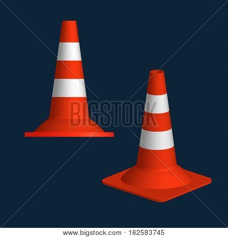 Traffic cone 3D icon. Vector illustration. Cones for learning to drive a car or fencing of the road.