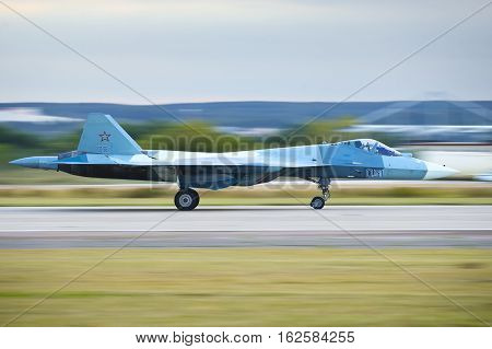 Zhukovskiy,Moscow Region, Russia - August 27,2015: PAK FA's (T-50) landing roll-out.