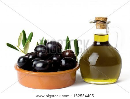 Olive oil with olives on a white background with copy space