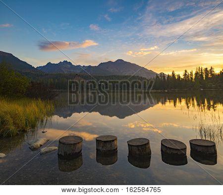 mountain lake in the Slovak High Tatras