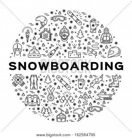 Vector snowboarding icon, Snowboard infographics. Isolated symbols of winter sports clothing, sportswear. Outline snowboarding logo, Minimal thin line art style. Sport branding design elements