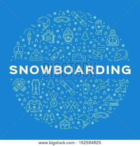 Vector Snowboarding Icon, Snowboard Winter Collection. Outline logo, Minimal thin line art infographics. Isolated symbols of winter sports clothing, sportswear. Snowboarding branding design
