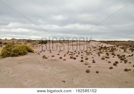 Long shot of the field of balls in the nature reserve Ischigualasto also called Valle de la Luna in the area San Juan in Argentina South America