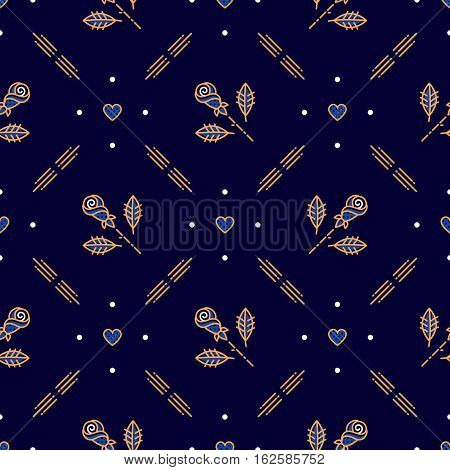 Diamond pattern, Diagonal Scandinavian Art Deco style, Elegant minimal design floral seamless pattern, Decorative thin line art repeating background, Golden elements on a dark backdrop, Vector