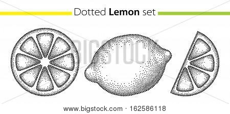 Vector dotted set with lemons and lemon slice in black isolated on white background. Fruits elements in trendy dotwork style. Decorative dotted citrus for summer design.