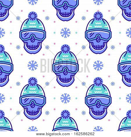 Snowboard pattern, winter sport seamless pattern. Trendy skull line icons in snowboard equipment, white background. Textile pattern sportswear, Modern hipster minimal design, Vector illustration