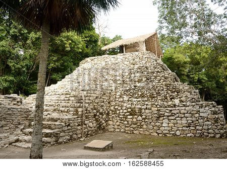Small Mayan pyramid.Archaeological remains of the ancient city of Coba